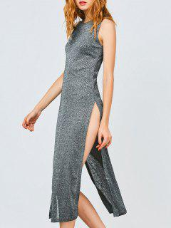 Sleeveless High Slit Club Dress - Frost M