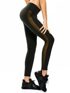 Skinny Mesh Panel Sporty Leggings - Black L