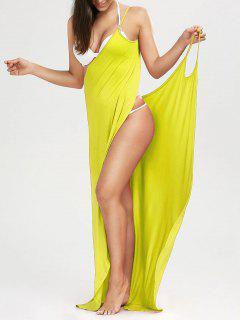 Beach Maxi Wrap Slip Dress - Yellow S