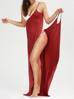 Beach Maxi Wrap Slip Dress - Claret M