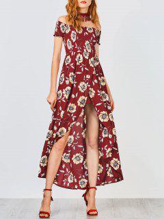 Robe Maxi Asymétrique Florale Aux épaules Dénudées à Taille élastique - Bourgogne S