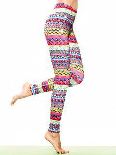 Skinny Tribal Print Sporty Leggings - L