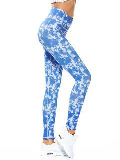 Skinny Tie-Dyed Sporty Leggings - Sky Blue L