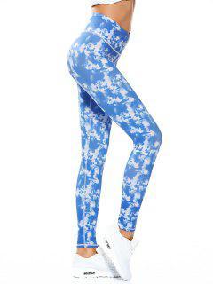 Skinny Tie-Dyed Sporty Leggings - Sky Blue S