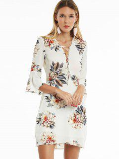 Lace Up Flare Sleeve Floral Print Dress - White Xl