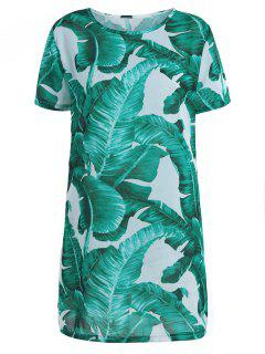 Palm Leaf Print Chiffon Mini Dress - White And Green L
