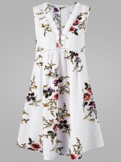 V Neck Floral Sleeveless Dress - White Xl