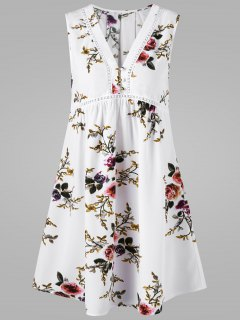 V Neck Floral Sleeveless Dress - White 2xl