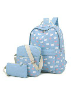 3 Pieces Cat Print Canvas Backpack Set - Light Blue