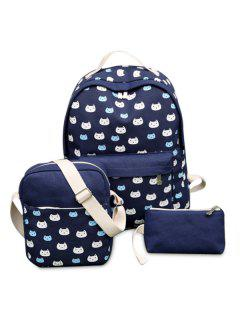3 Pieces Cat Print Canvas Backpack Set - Blue