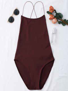 Backless Criss Cross Bodysuit - Wine Red