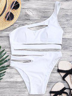 Bandage Asymmetric One Piece Monokini Swimsuit - White L