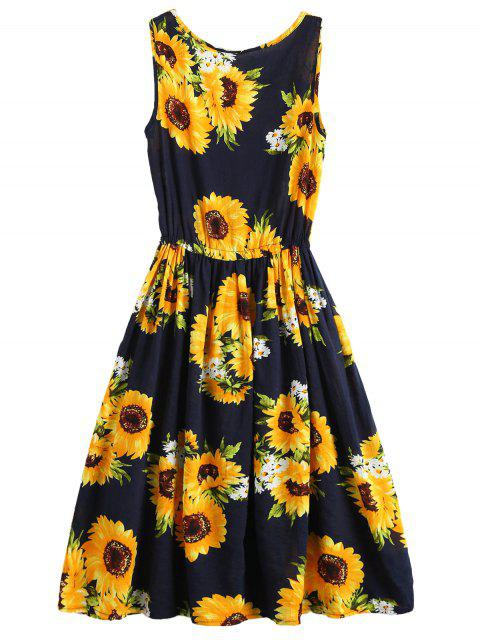 trendy Sleeveless Drawstring Waist Sunflower Dress - FLORAL S Mobile