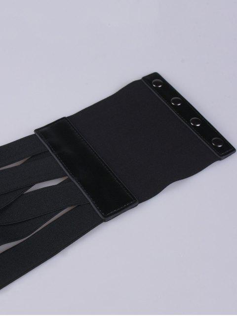 ladies Bandage Metal Circles Snap Fastener Corset Belt - BLACK  Mobile