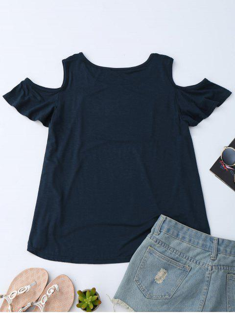 American Flag Sequins Cold Shoulder T-Shirt - Bleu Violet S Mobile