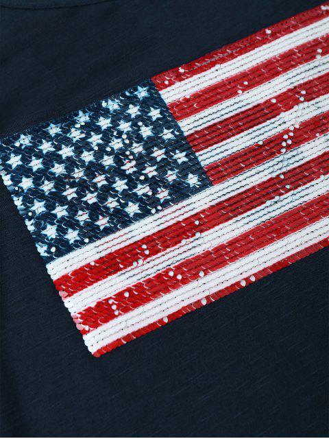 online American Flag Sequins Cold Shoulder T-Shirt - PURPLISH BLUE L Mobile