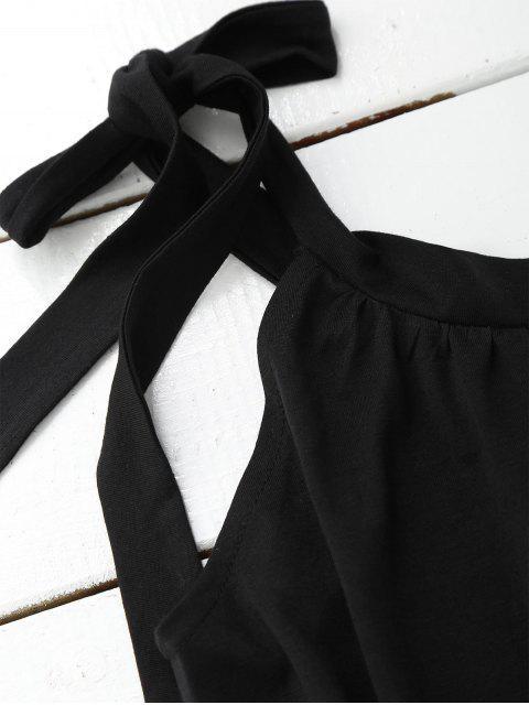 unique Casual Tied Straps Mini Dress - BLACK M Mobile