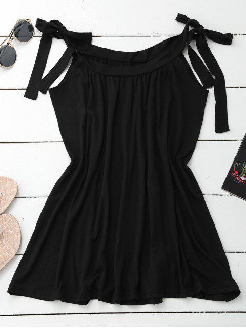 affordable Casual Tied Straps Mini Dress - BLACK XL Mobile