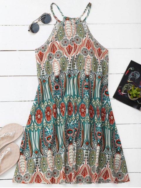 women's High Neck Printed Tunic Dress - COLORMIX XL Mobile