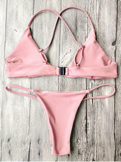 fancy Padded Cross Back Thong Bikini Set - PINK S Mobile
