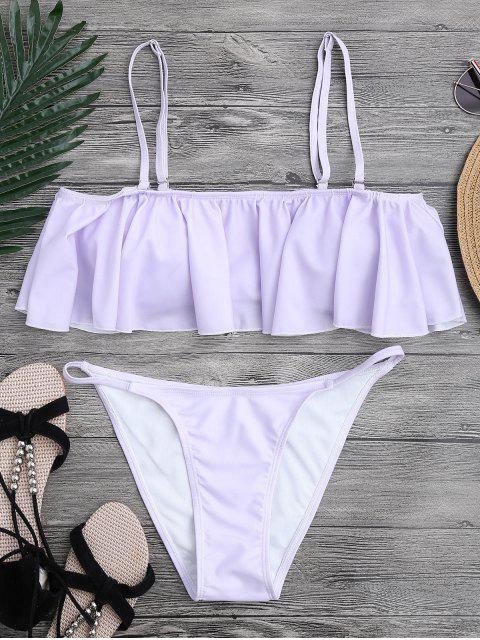 affordable Flutter Off The Shoulder Bikini Set - PURPLE S Mobile