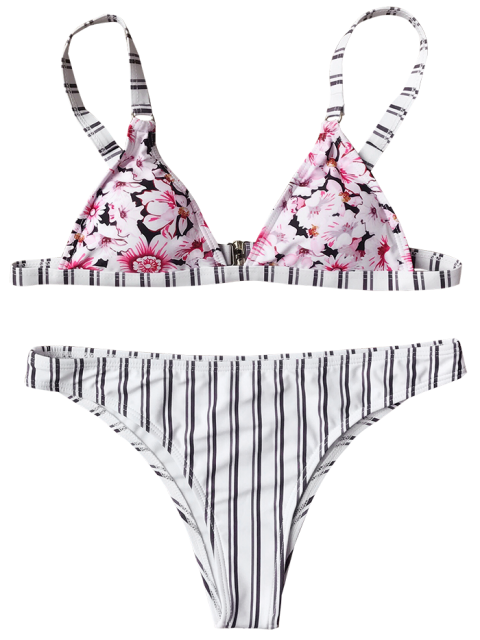 lady Floral Stripe Plunge Bathing Suit - WHITE S Mobile