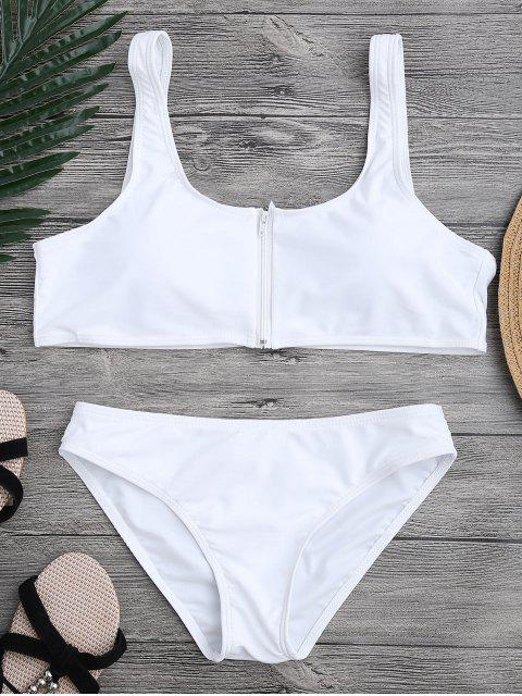 trendy Zip Front Scoop Bikini Set - WHITE S Mobile