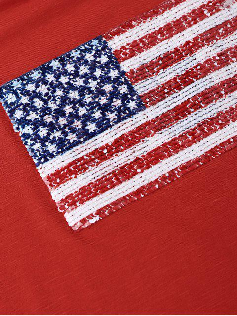 American Flag Sequins Cold Shoulder T-Shirt - Rouge M Mobile