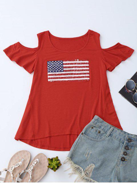 womens American Flag Sequins Cold Shoulder T-Shirt - RED S Mobile