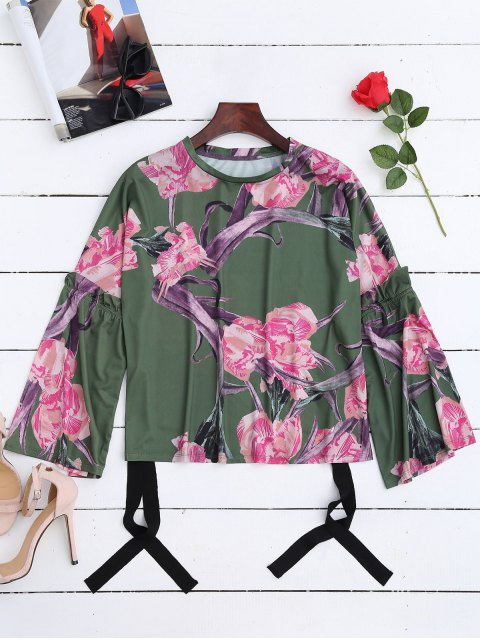lady Flare Sleeve Floral T-Shirt - GREEN M Mobile