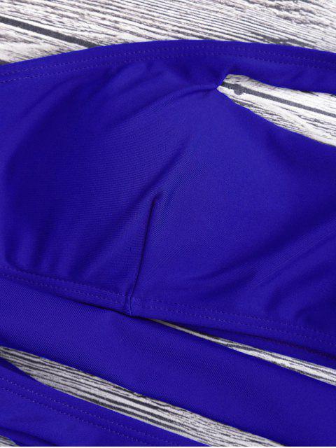 fashion Bandage Asymmetric One Piece Monokini Swimsuit - BLUE L Mobile