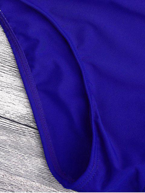 chic Bandage Asymmetric One Piece Monokini Swimsuit - BLUE M Mobile