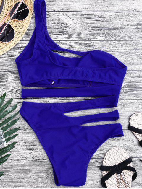 Bandage Maillot de Bain Monokini 1 Pièce Asymétrique - Bleu S Mobile
