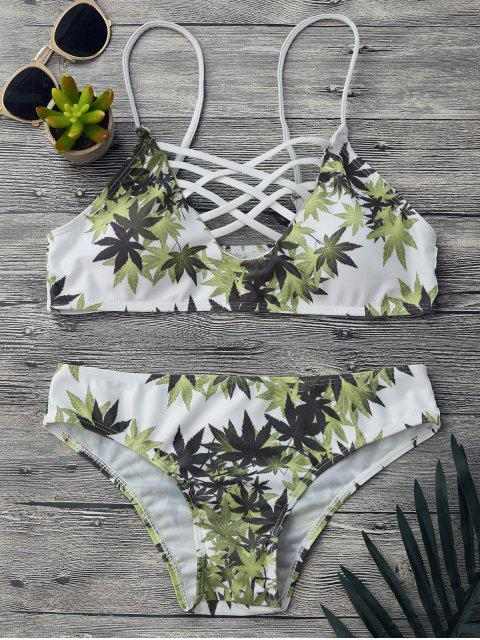 online Padded Weed Print Strappy Bikini Set - WHITE M Mobile
