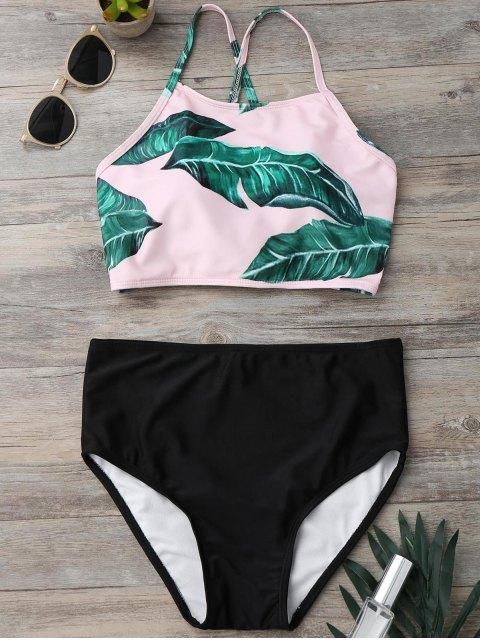 shop Back Strappy Leaf Print High Cut Bikini Set - BLACK L Mobile