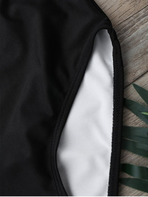 latest Back Strappy Leaf Print High Cut Bikini Set - BLACK S Mobile