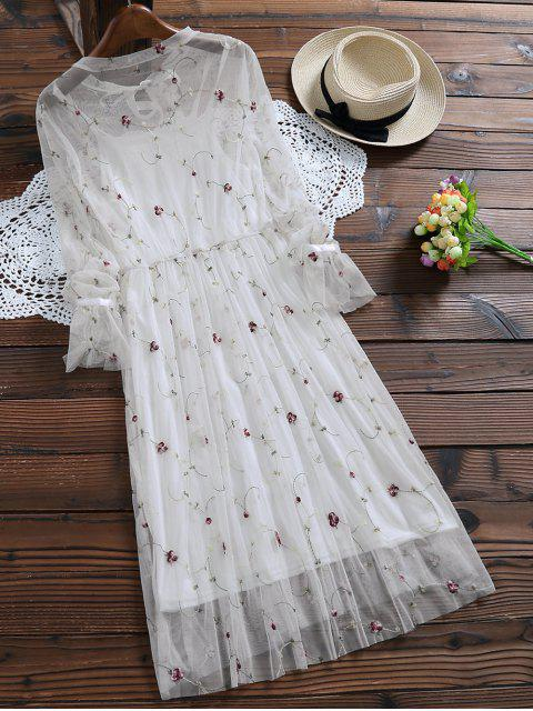 unique Long Sleeve Floral Tulle Dress With Tank Top - WHITE S Mobile
