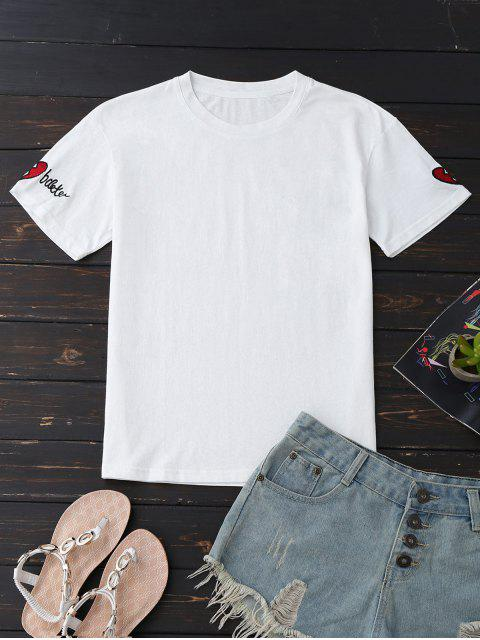 shops Loose Cotton Embroidered T-Shirt - WHITE M Mobile
