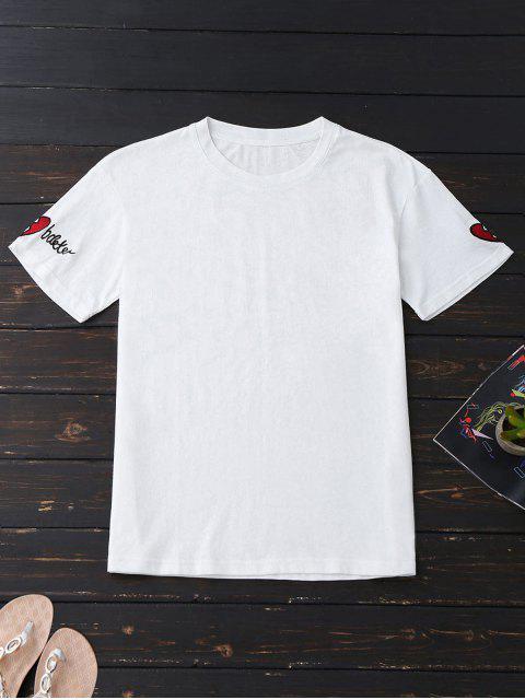 Camiseta de algodón suelto bordada - Blanco M Mobile