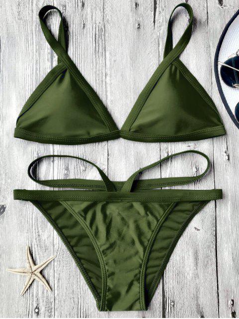 sale Padded V Strap Thong Bikini Set - ARMY GREEN S Mobile