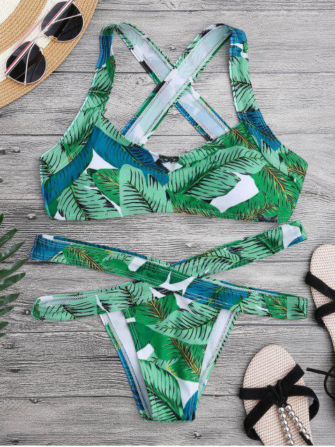 Conjunto de bikini de vendaje de espalda - Verde S Mobile