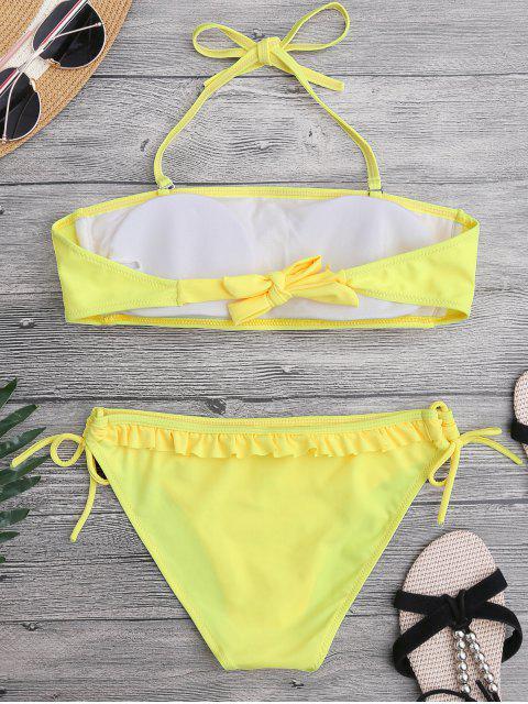 online Ruffled Padded Bandeau Bikini - YELLOW S Mobile