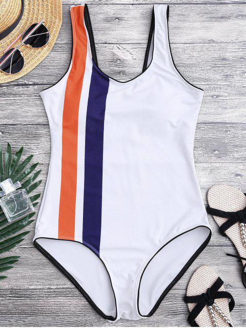 fancy Striped Contrasting Piped One Piece Swimsuit - WHITE L Mobile