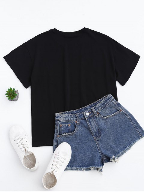 shops Short Sleeve Letter T-Shirt - BLACK M Mobile