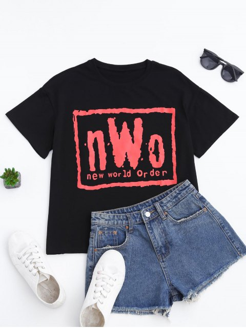 T-shirt à manches courtes imprimé de lettres - Noir M Mobile