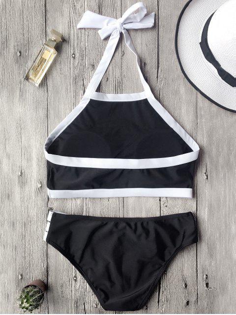 Ensemble de bikini col haut couleur contraste - Noir S Mobile