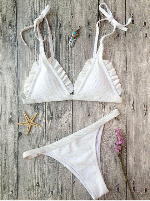 women Rib Textured Frilled String Bikini Set - WHITE S Mobile