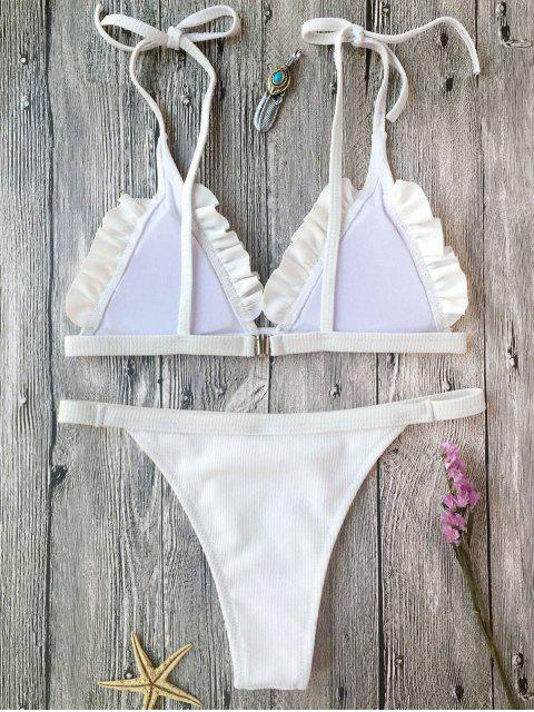 Ensemble de bikini à bretelle texturé côtelé à volants - Blanc S Mobile