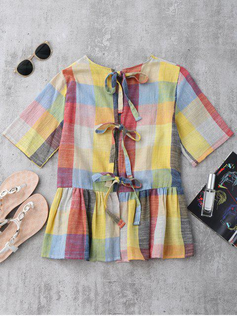 shop Ruffles Bowknot Checked Top - CHECKED L Mobile