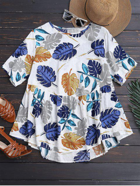 trendy Leaf Print Skirted Holiday Top - COLORMIX M Mobile